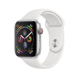 Apple Watch S4 (GPS + cellular caja de aluminio en plata y correa deportiva en color blanco 44 mm - MTVR2BZ/A