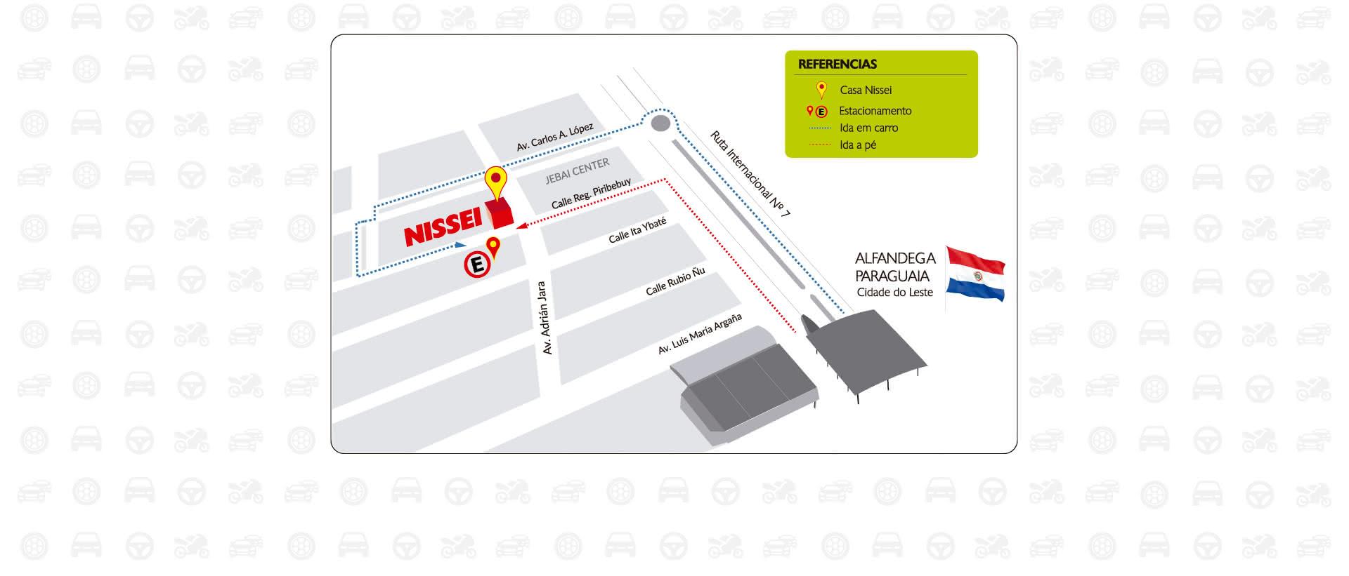 Estacionamento gratuito no Paraguai